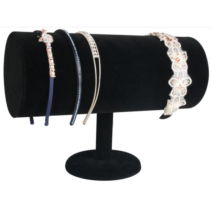 Top Luxury Black Velvet Big T Bar Jewelry Head Band Display Stand Organizer Cylindrical Jewelry Display Showcase Holder