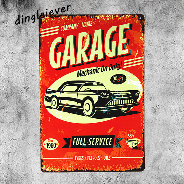 Garage Car Full Service Metal Sign Vintage Wall Decals Antique Tray Hot Rod Posters Signs