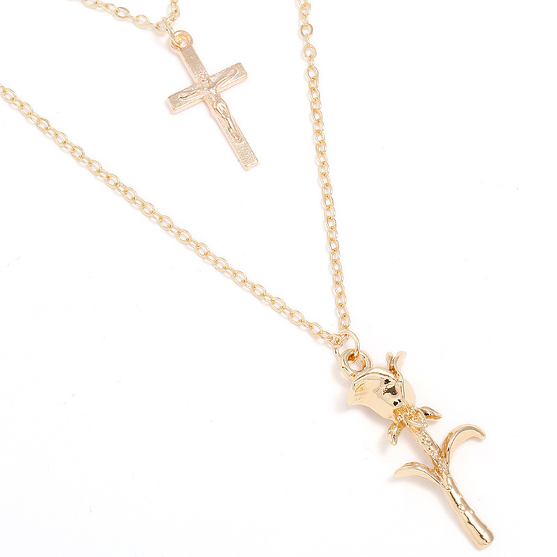 Bohemian Multilayer Rose Cross Pendant Necklace for Women
