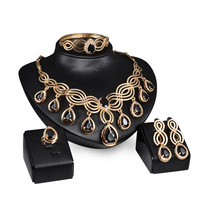 2017 Women Black Crystal Jewelry Set Luxury Gold Plated Nigerian Wedding African Beads Jewelry Set Costume