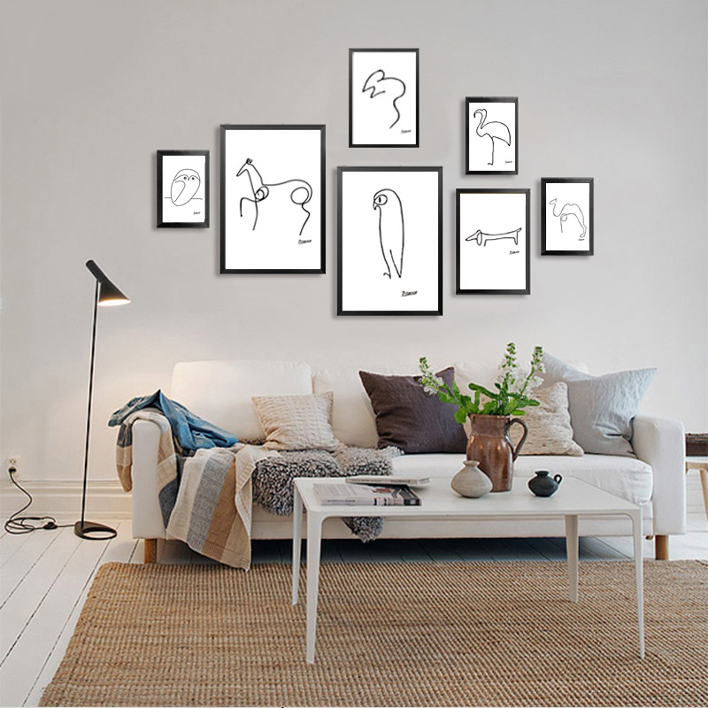 Picasso Penguin Dog Horse Bird Print Canvas Painting A4 No Frame Abstract Animals Wall Art Kids Room Bar Office Home Decor in Painting Calligraphy from Home Garden