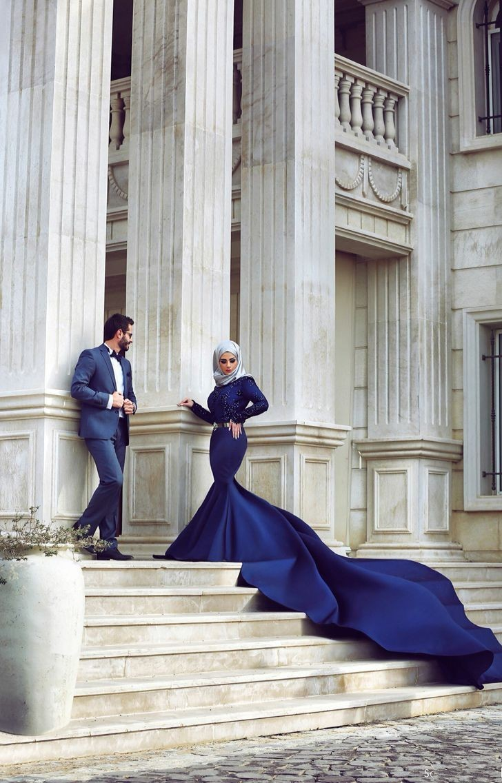 2019 Muslim Amazing Mermaid Evening Gowns High Neck Long Sleeve Floor Length Party Gowns Royal Train Satin Formal Prom Dresses