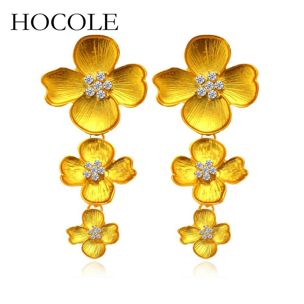Hocole New Fashion Red Alloy Rhinestone Flower Earrings For Women