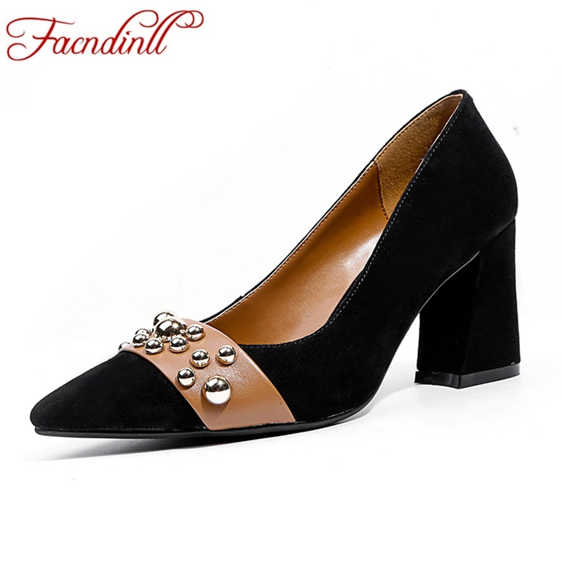 FACNDINLL brand fashion women pumps new genuine leather high heels pointed toe shoes woman dress party office ladies pumps shoes facndinll shoes 2018 new fashion genuine leather women pumps med heels pointed toe shoes woman dress party casual black pumps