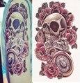 Хэллоуин ужас череп конструкции временных татуировку письма террорист скелет цвет цветок 3D большая татуировка рука наклейка