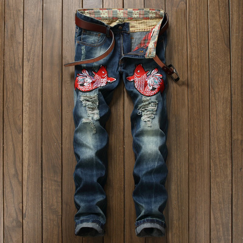 Hot Sale Fisf Embroidery Jeans Fashion Cutout Holo Blue Trousers hot sale new arrival men cutout jeans fashion embroidery pencil trousers