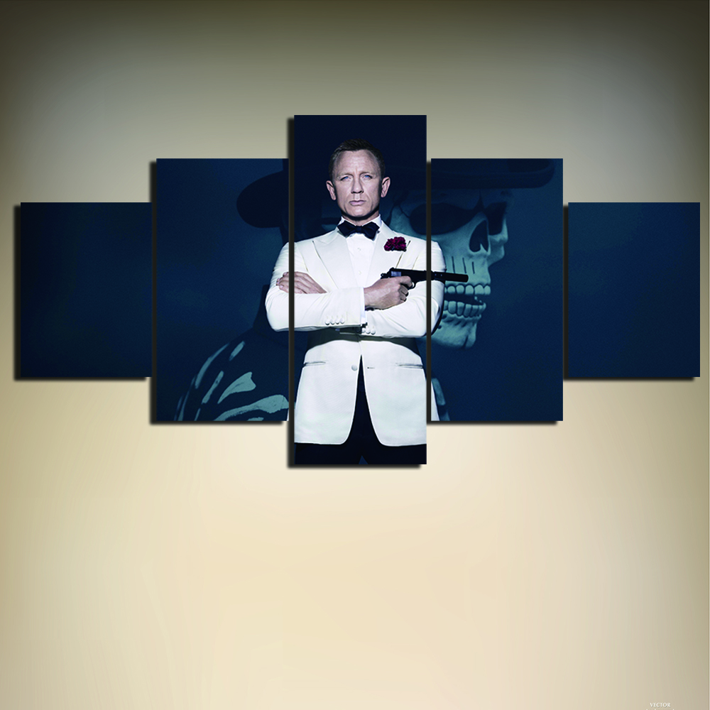 Unframed 5 pieces movie 007 james bond posters canvas for 007 room decor