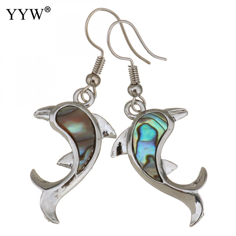 Shell Dangle Earrings Brass With Abalone Shell Dolphin Animal Silver Color Plated For Woman 47mm Sold By Pair(China)
