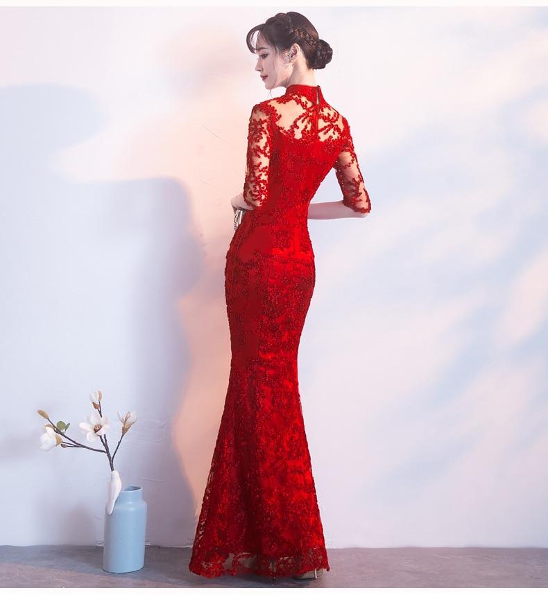 Rouge nouveauté dentelle Cheongsam robe Vintage Style chinois longue Qipao femmes Slim robes de soirée rétro dame vêtements Vestidos S-XXXL