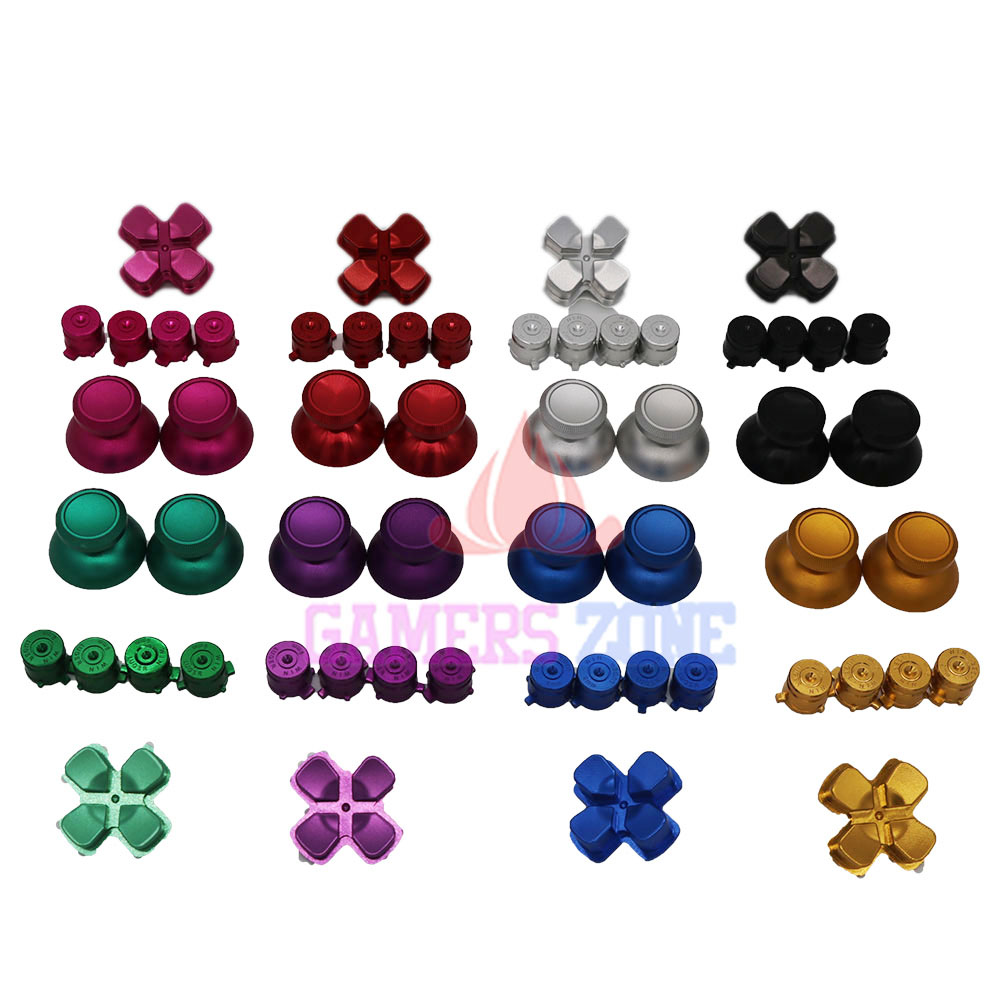 все цены на 5SETS Metal thumbsticks Caps + Bullet Buttons and Chrome D-pad for PS4 Controllers