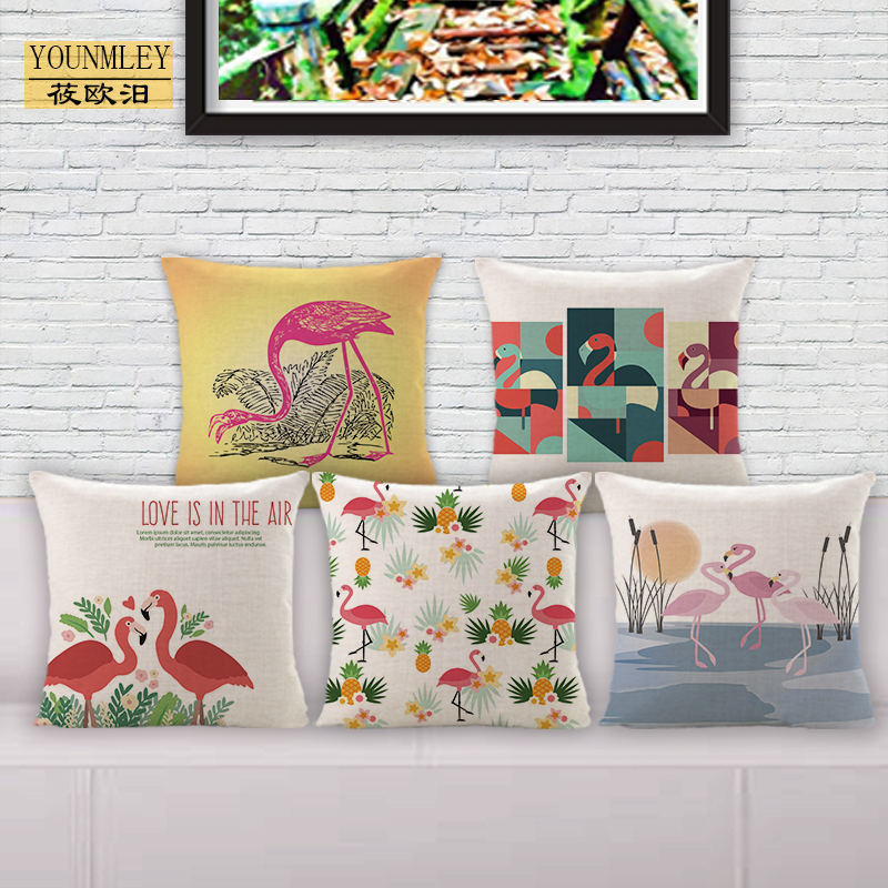 NEW watercolor flamingo home decor tropical cushion cover island style pillow case coral bird animal printed for beach house E9