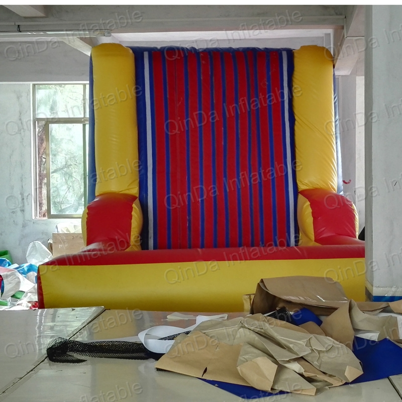 2017 best funny game inflatable stick Bouncy castle climbinh wall with suit inflatable velcro wall blow