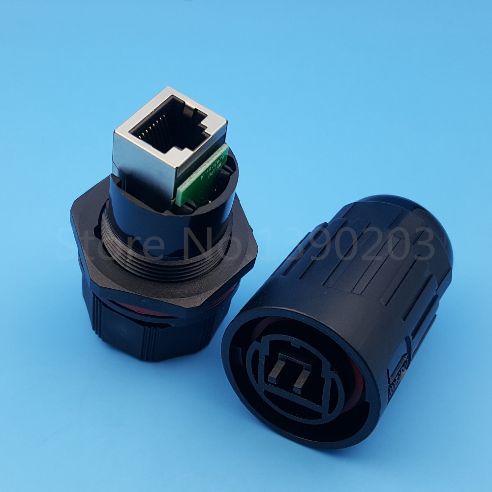 все цены на 1Set Black Waterproof IP67 RJ45 Ethernet Connector Panel Mount Plug and Socket онлайн