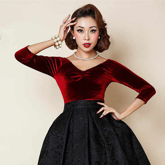 30-4 цвета женские 50s винтажные pinup Стиль v-образным вырезом 3/4 рукав fit бархат укороченный топ плюс размер 4xl рубашка blusa camisetas