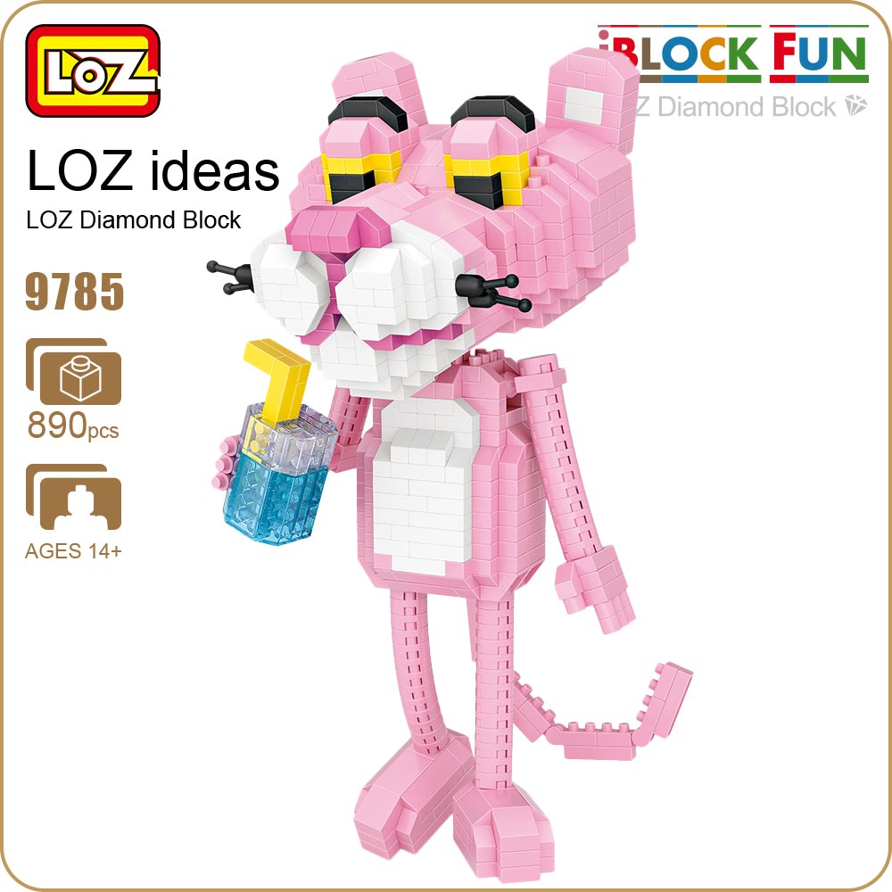 LOZ Diamond Blocks Cartoon Leopard Action Figures Animal Model Building Assembly Toys for Children Educational Funny Bricks 9785 loz diamond blocks figuras classic anime figures toys captain football player blocks i block fun toys ideas nano bricks 9548