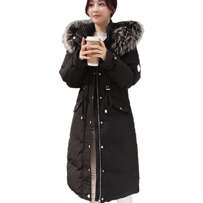 2018 New Winter Women's Slim Waist   Down   Jackets Large Raccoon Fur Collar Long   Down     Coats   Parkas Fashion Female Snow Outerwears