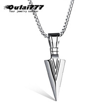 Oulai777 Stainless Steel Wholesale Men Necklace Women  Long Jewelry Mens Chain Friends Fashion Personalized Spearhead Pendant