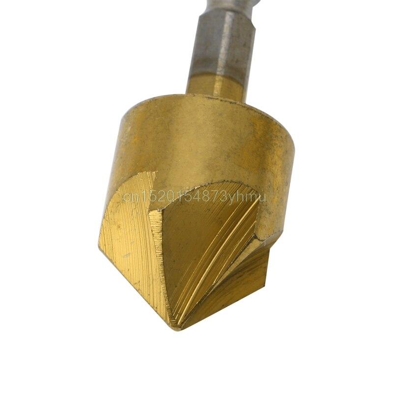 6Pcs 1/4 Hex Shank HSS 5 Flute Countersink Drill Bit Set 90 Degree 6mm-19mm #L057# new hot goxawee 3pc 5 flute 90 degree 1 4 hex shank countersink drill bits set for power tool rotary tools metal woodworking drill bit