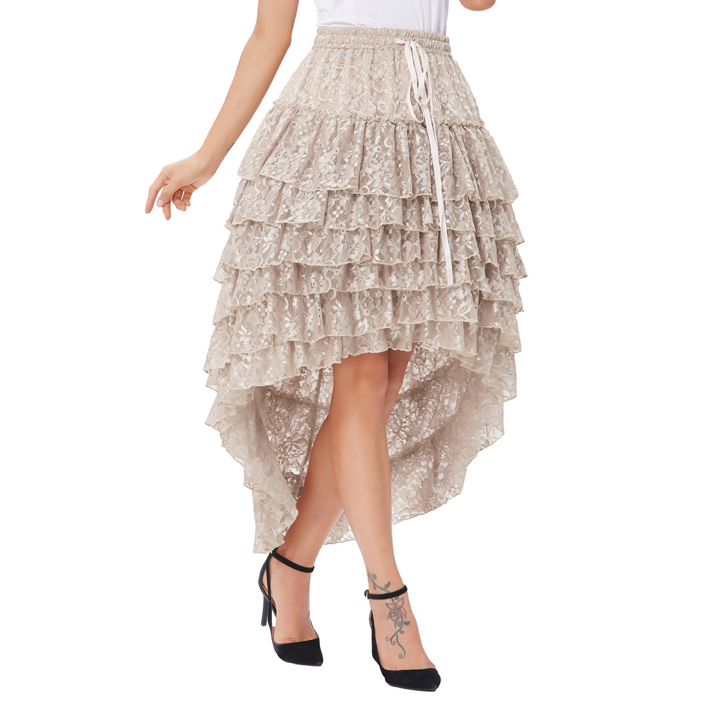 Women Skirt Polyester Solid Color Retro Lining Drawstring Waist Ruffled Amelia Gothic Steampunk Lace Cake Skirt Design New