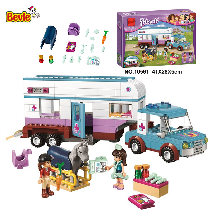 10561 Bela Friends Series Horse Vet Trailer Touring Car Model Building Block Bricks Compatible With Legoings Friends 41125 tomy игровой набор horse trailer with horses