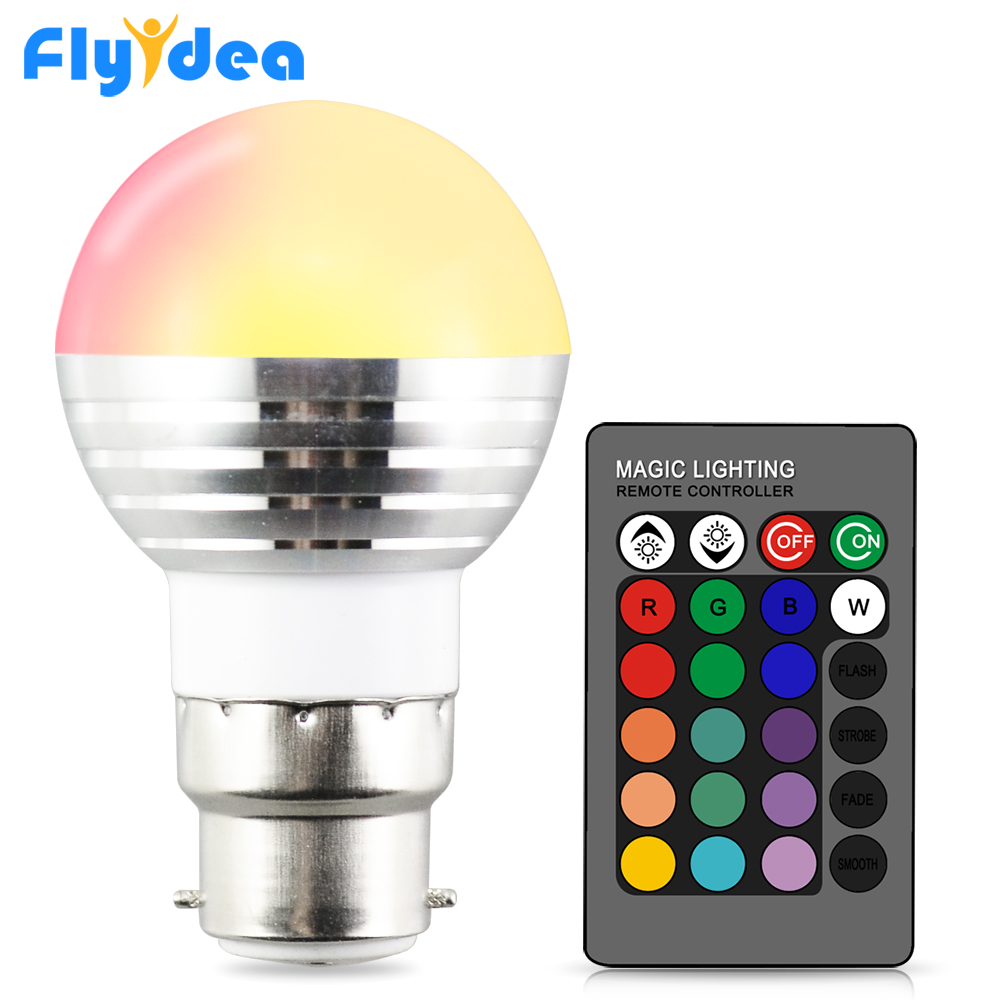 AC 110V 220V 24key B22 Smart IR Remote Control Holiday Dimmable Stage Light 16 Color Magic RGB LED Light Lamp Holiday Home Bulb