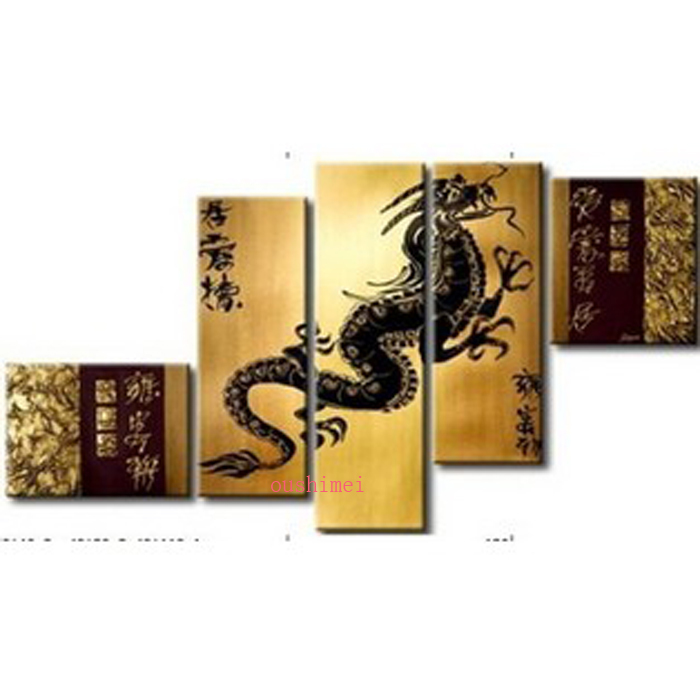 Handpainted 5 Piece Modern Abstract Oil Paintings On Canvas Chinese Dragon Animals Wall Art Pictures For