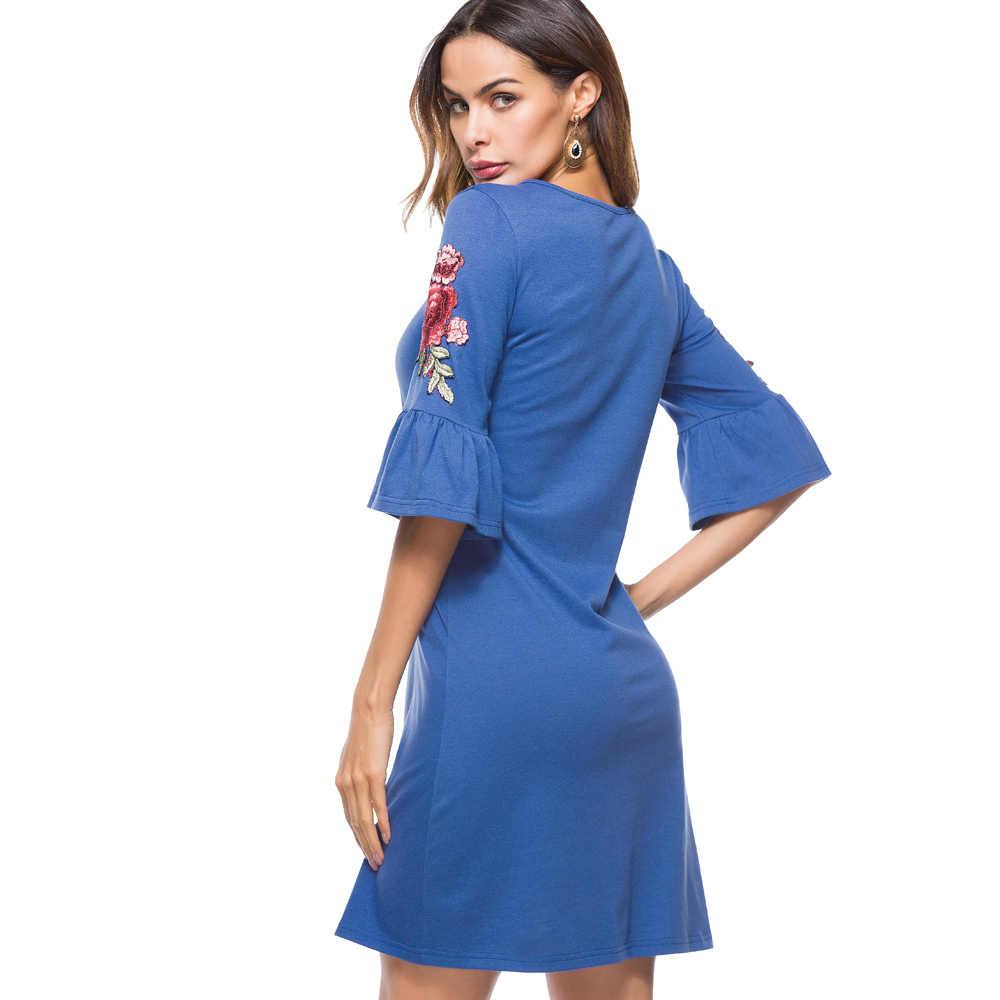 Женское платье c вышитыми розами Nice-forever, элегантное синее платье с вышивкой на рукавах-раструбах и круглым вырезом, модель T019, 2019