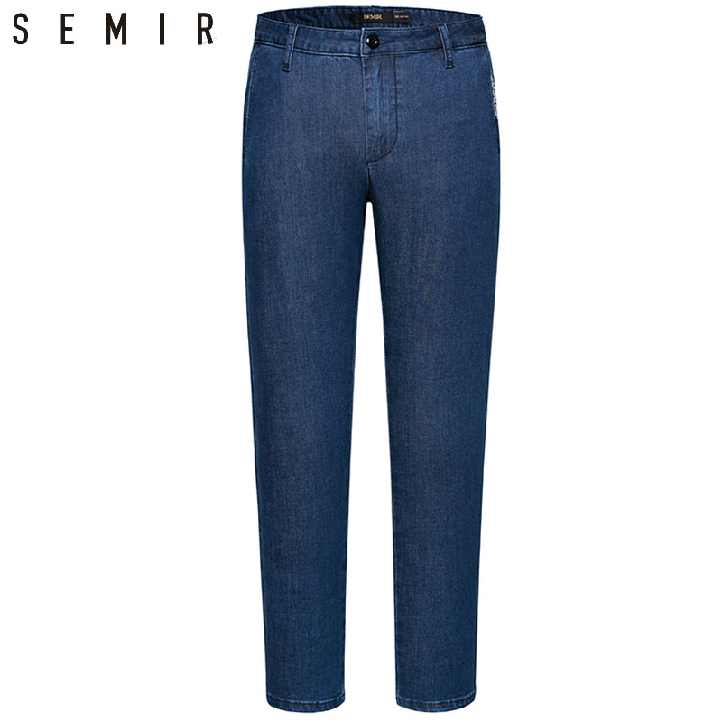 SEMIR jeans men straight pants mens classic jeans male denim jeans Designer Trousers black chic fashion pants ankle-length