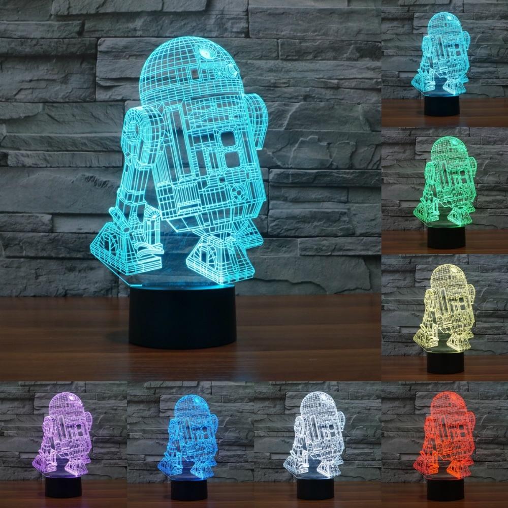 7 color changing night light star war R2 robot 3D light Robot Light LED Table Lamp