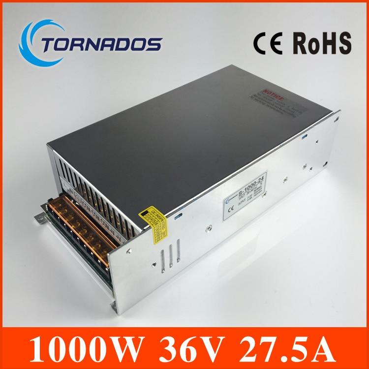 S-1000-36 alta potencia AC a DC pequeño tamaño DC 36 V fuente de alimentación 1000 W para la tira llevada, AC110V/220 V transformador a la CC 36 V