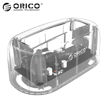 ORICO 3.5 External Hard Drive Enclosure Type-C Docking Station Hdd Sata Case Disk Box usb 3.1 Storage Dock Station-Transparent