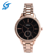 DWG Brand Black Dial 30M Waterproof Rhinestone Quartz Watch Bracelet Watch Zinc Alloy Ladies Wristwatch for Women Reloj Mujer