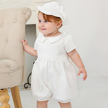 2 предмета, 1 год, одежда для маленьких мальчиков на день рождения, крестильное платье, комплект одежды для новорожденных младенцев, белая одежда комбинезоны+ шляпа
