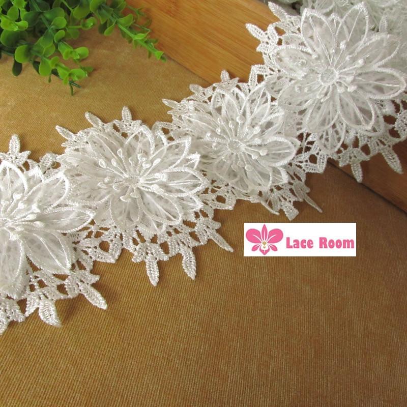 Aliança de casamento branco rendas solúvel de materiais de vestuário cinto  de ombro cadeia cocar acessórios de jóias diy guarnição do laço 555ab4f60d