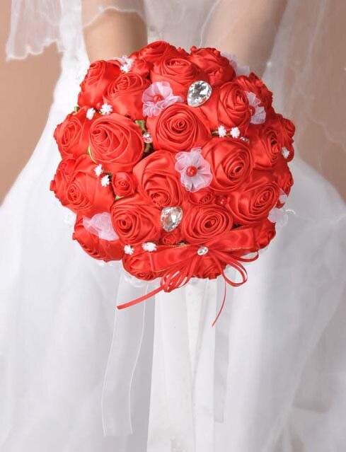 2017 Люкс Для Невесты Свадебный Букет Дешевые Новый Роскошный Красный Кристалл Ручной Работы Искусственный Цветок Розы Свадебные Букеты