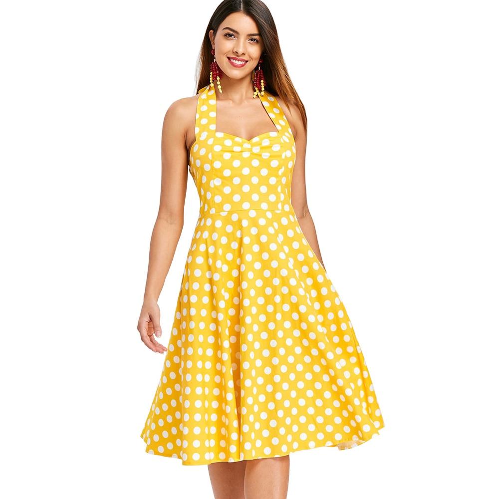 Wipalo Plus Size 5XL Women Summer Dress Vintage Yellow Polka Dot A-Line  Party Dress Casual Cotton Halter Dresses Female Vestidos