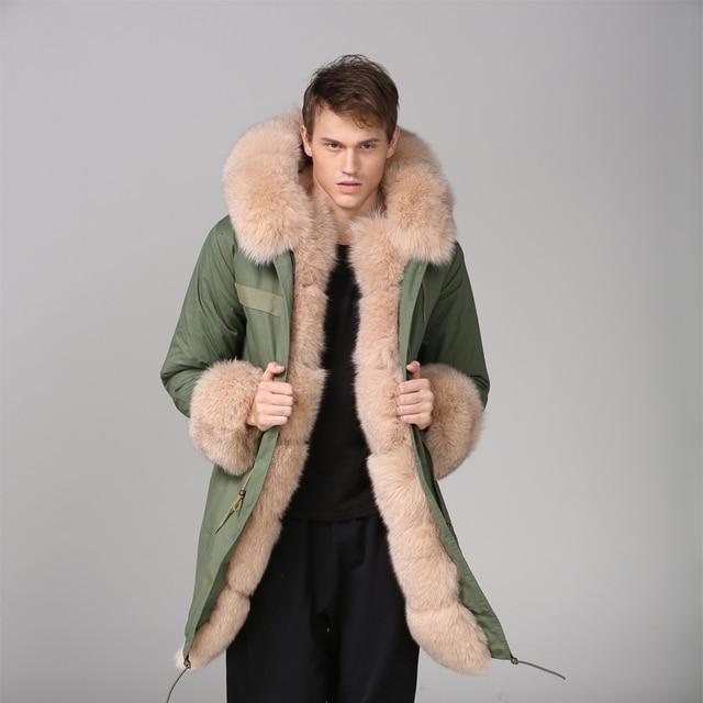 b379af77b8 Fox Fur Wear Nude Color Mens Fashion Long Parka With Fox Fur Cuffs Russia  Luxury Style