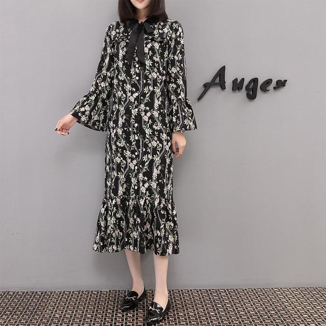 2018 Sale spring summer new arrival long sleeve floral chiffon dress women  vintage fashion Korean style clothes plus size 5XL 6d09cbf26354