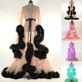 Bridal Boudoir Robe Pink Purple Feather Bridal  Robe Full Length Womens Robes See-through Рубашка