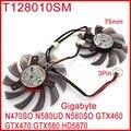 Free Shipping 2pcs/Lot T128010SM 75mm 12V 0.2A For Gigabyte N470SO N580UD N580SO GTX460 GTX470 GTX580 Graphics Card Fan