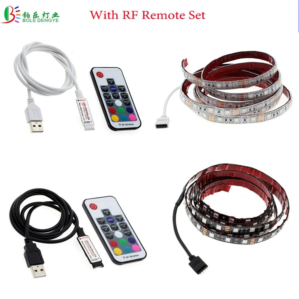 DC5V 2.0 USB LED Strip 5050 Waterproof Flexible Diode Lighting Tape RF Remote RGB Controller 0.5M 1M 2M TV Background Desk Light