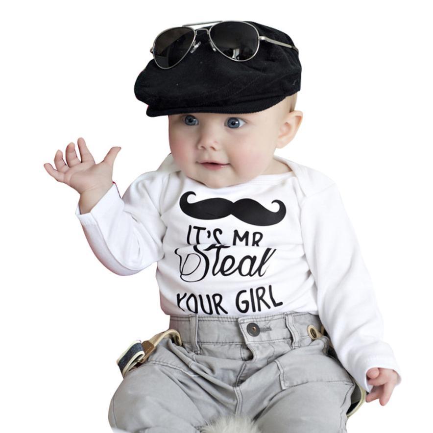 #5001 Kleinkind Kind Jungen Moustache Print Langarm Romper Body Weste T-shirt Einfach Zu Verwenden