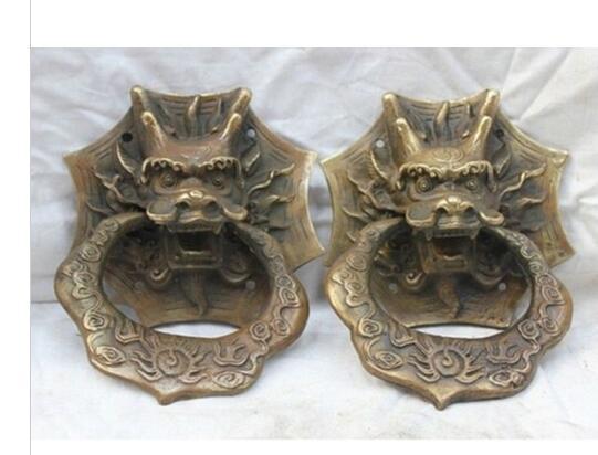 Art Bronze Decoration Crafts Brass Old 4.8 Copper Bronze Dragon Head Fengshui Door Knocker Statue Pair Door KnockerArt Bronze Decoration Crafts Brass Old 4.8 Copper Bronze Dragon Head Fengshui Door Knocker Statue Pair Door Knocker