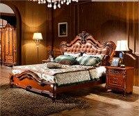 Современный европейский твердой древесины кровать Моды Резные кожа французский Американский стиль мебель для спальни d1413