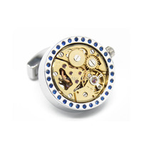 Promotion 2015 New Functional Watch Movement Cufflinks Blue Crystal cufflinks Steampunk Gear cufflink Best Gift cuff links