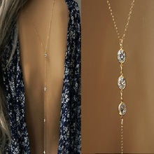 2017 New Women Crystal Backdrop Necklace Gold color Back Body Chain Beach Jewelry Wedding Backless Dress