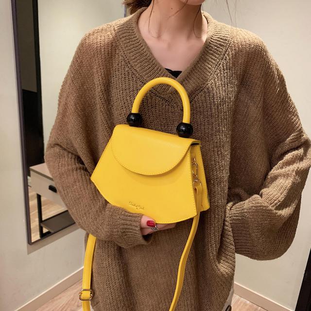 Retro Brand Semicircle Design Beads Horseshoe Bag For Women Handbag Purse Pu Leather Crossbody Bag Ladies Shoulder Messenger Bag