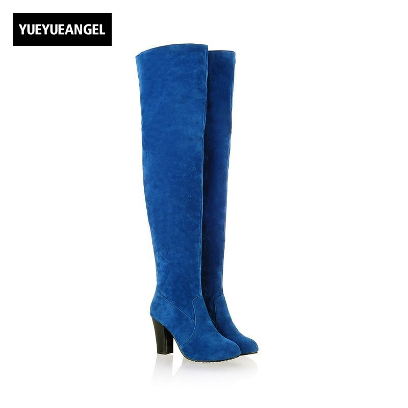 Autumn Winter Ladies Womens Faux Suede Block Heel Over Knee Thigh High  Boots Faux Suede Shoes Plus Size 34-45 Black Blue Gray yougolun ladies fashion thigh high over the knee boots woman autumn winter womens female sexy nubuck suede leather women shoes