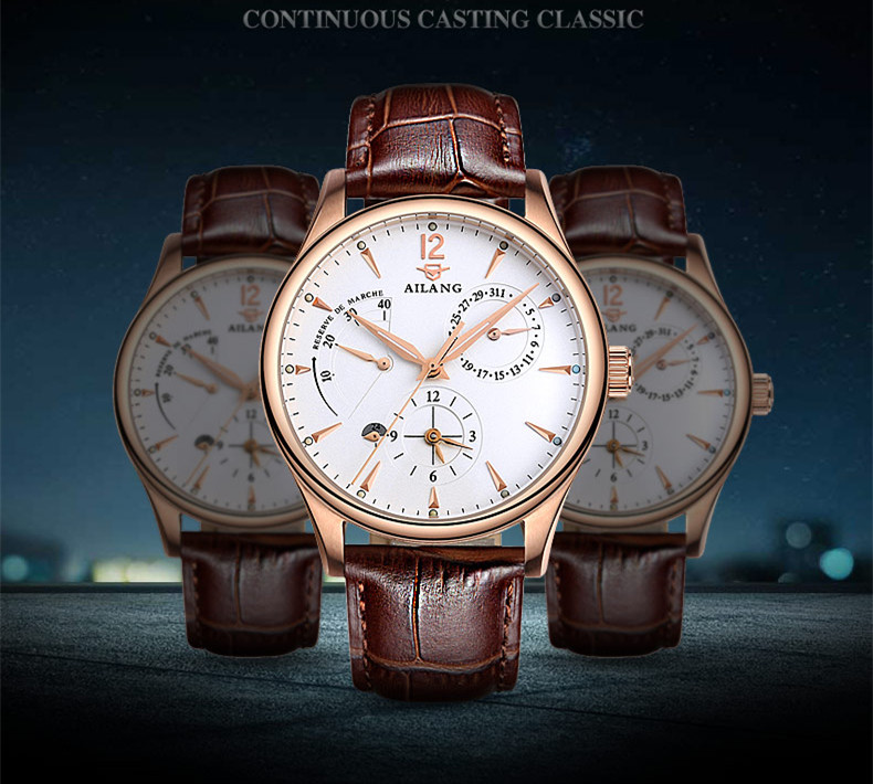 AILANG Brand Designer Business Men Calendar Dress Watches Europe Popular Multi-functional Leather Wristwatch Auto Self-wind W039 new business designer men mechanical dress watches self winding calendar wristwatch leather strap analog relojes 1atm nw4916
