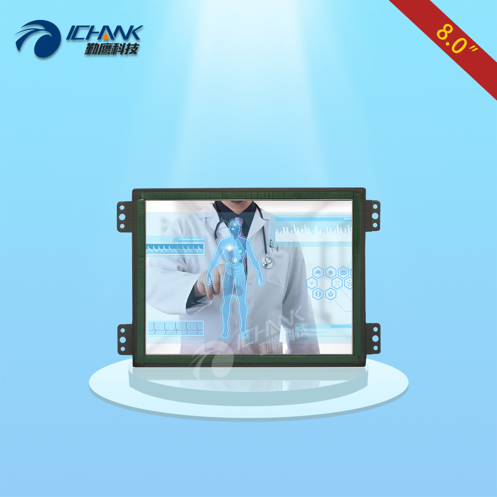ZK080TC-LR/8 inch 1024x768 VGA HDMI Metal Case Open Embedded Frame Industrial Medical Equipment Touch Monitor LCD Screen Display zk080tn 705 8 inch 1024x768 4 3 metal case vga signal open wall hanging embedded frame industrial monitor lcd screen display